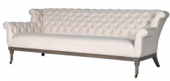 Cream Button-Back Sofa